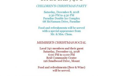 2018 Christmas Party Schedule